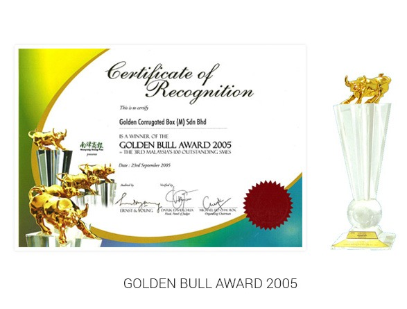 Golden Bull Award 2005 certificate and trophy