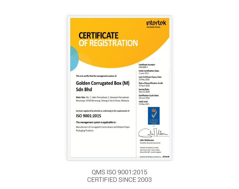 QMS ISO 9001:2015 certificate