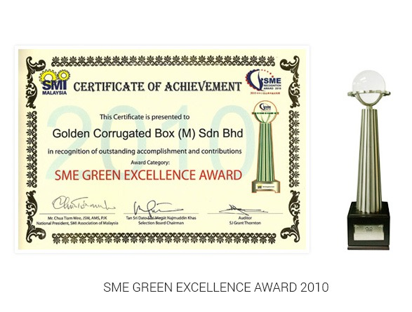 SME Green Excellence Award 2010 certificate