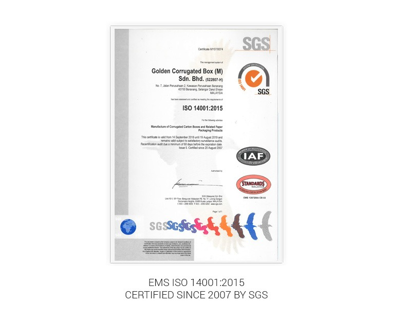 Golden Corrugated Box ISO 14001:2018 certification